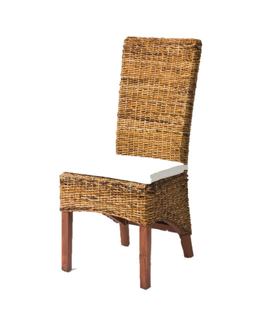 ECRU ABACA DINING CHAIR WITH WHITE CHAIR PAD