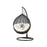 PE WICKER POD CHAIR ON STAND BLACK