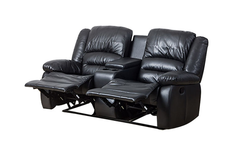 Martin 2 Seater Recliner with Console Black
