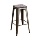 BAR STOOL METAL WOOD SEAT DARK GREY