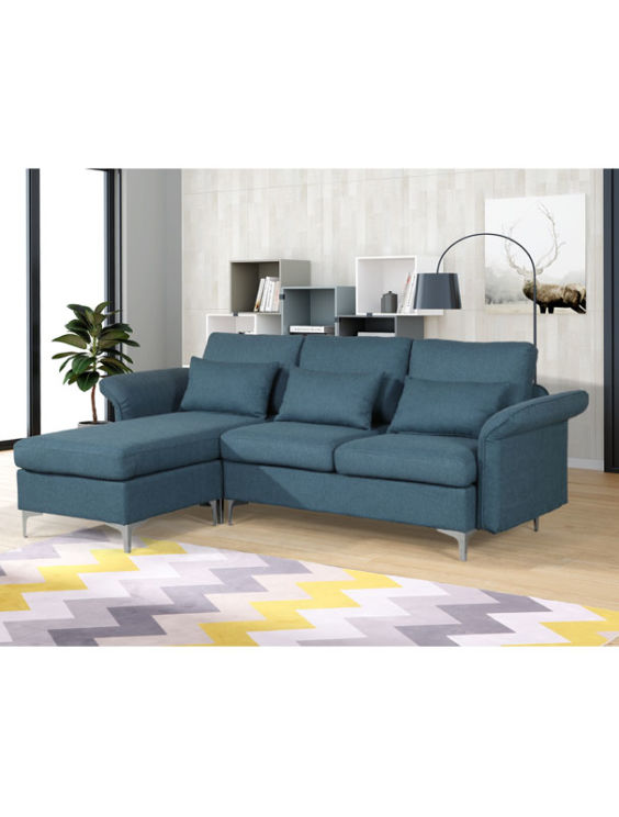 Maddox 3 Seater Sofa with Chaise and Pull Down Arms Blue