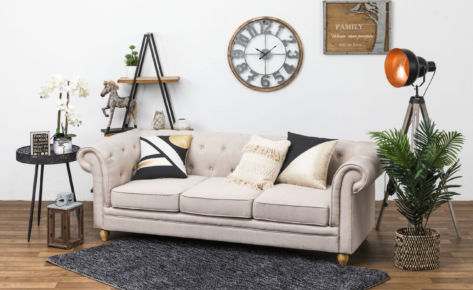 Chester Sofa Linen 3 Seater Cream