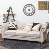 Chester Sofa Linen 3 Seater Cream