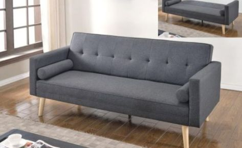 Scandi Sofa Bed 3 Seater with Roll Cushions Grey