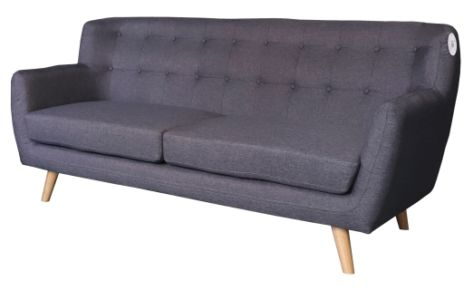 Sofa Scandi Curve 3 Seater Dark Grey