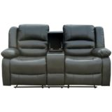 Martin 2 Seater Recliner with Console Gunmetal Grey