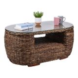 Abaca Moon Coffee Table With Glass