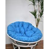 Papasan Chair Rattan White   Blue Cushion