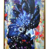 Framed Hand Painted Oil Canvas Black Parrot 53 x 73cm