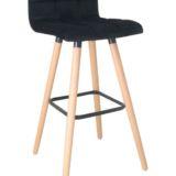 Padded Bar Stool Fabric Black Seat Natural Legs