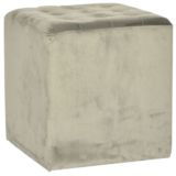 Velvet Cube Ottoman Grey 40 x 40cm