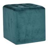 Velvet Cube Ottoman Teal 40 x 40cm