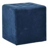 Velvet Cube Ottoman Indigo Blue 40 x 40cm