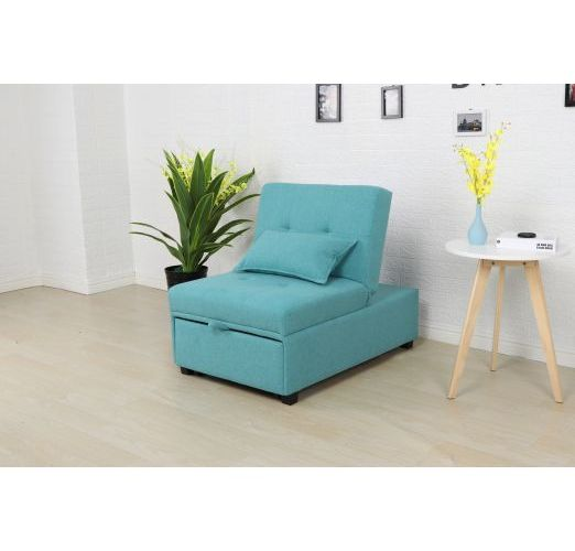 Toby Pull Out Sofa Bed Single Aqua Blue