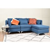 Maddox 3 Seater Sofa Chaise with Arms Blue