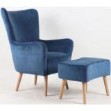 Scandi Velvet Chair with Ottoman Blue