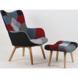 Scandi Fabric Chair with Ottoman Patch