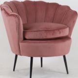 Scallop Velvet Chair Pink