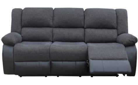 Elliot 3 Seater Recliner Black