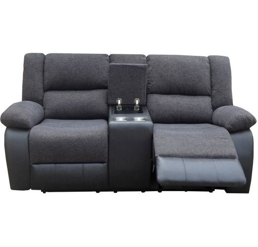 Elliot 2 Seater Recliner with Cup Holder Black