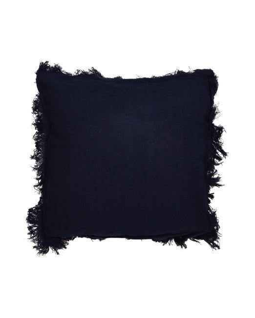 669030 Rio Cushion Plain w Frill Navy Blue