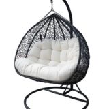 Cora Hanging Double Pod Chair Steel Frame Black