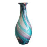 Peacock Blue Multi Coloured Glass Vase 37.5cm