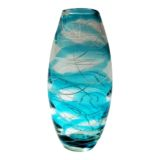 Turquoise Stripe Handblown Vase 31.5cm