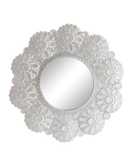 850188 MIRROR ROUND FLOWER WHITE 57CM WCLEAR JEWELS