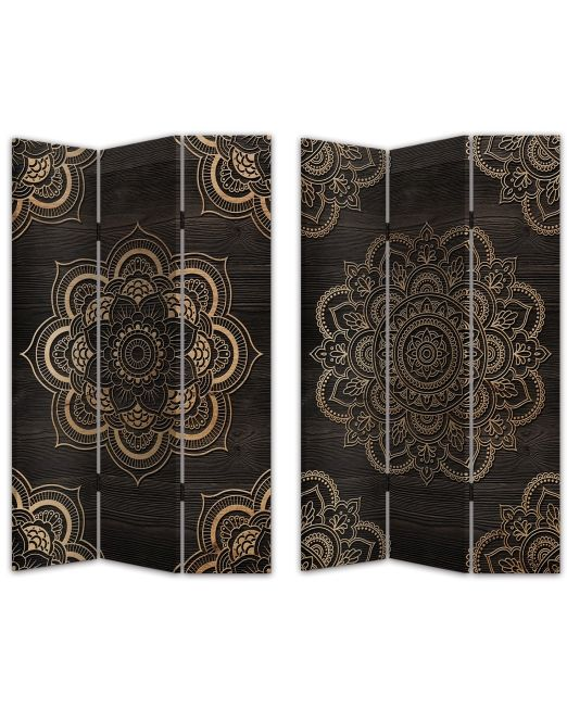 854015 SCREEN 3FOLD DBL SD GLDMANDALA 120X2.5X180CM