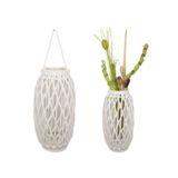 Lantern Wicker White with Glass