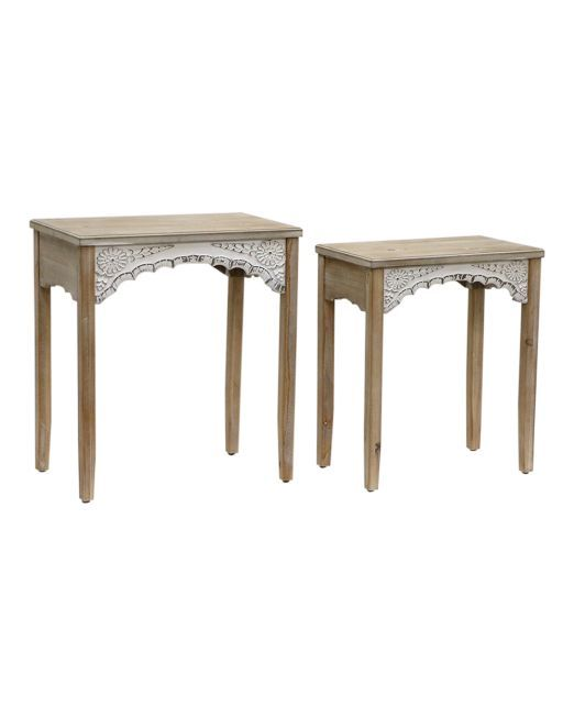 972050 WILLOW TABLE SIDE W CARVING S2 L56