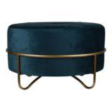 Ottoman Round with Gold Leg Velvet Peacock Blue Large