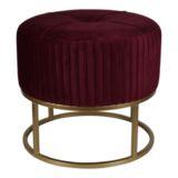 Ottoman Round on Gold Base Small Red Velvet