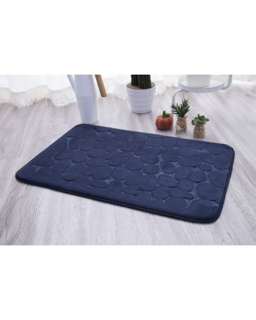 036115 - BATH MAT EMBOSSED STONE DARK BLUE (3)