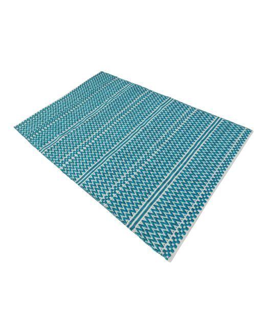985979, 985980 Rug ZigZag Teal Blue Cream Handwoven Flatweave (5)