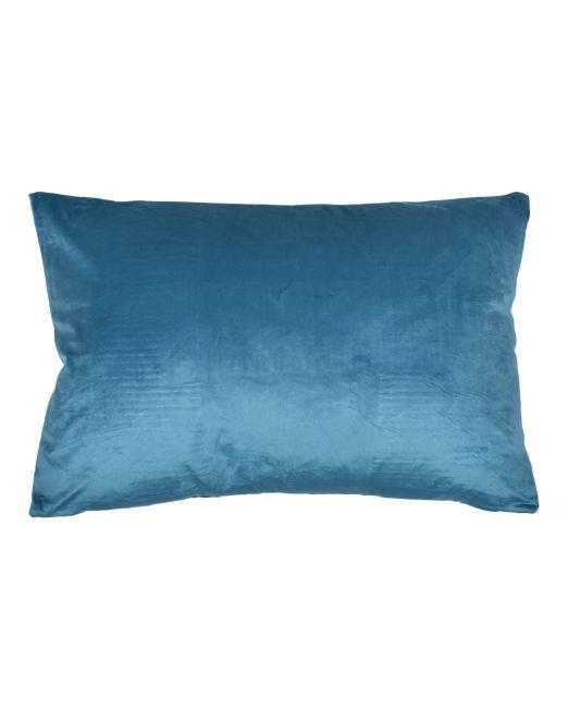 663986 Cushion Velvet Feather Peacock Blue 40 x 60cm
