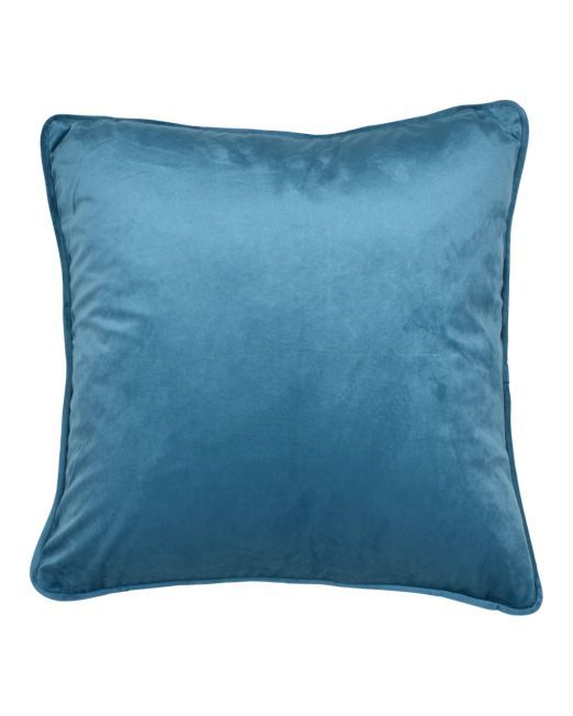 663988 Cushion Velvet Feather Peacock Blue 45 x 45cm