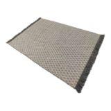 Honeycomb Rug Handwoven Flatweave Grey