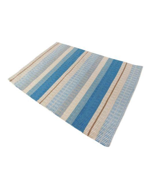 985987 RUG STRIPE BLUE MULTI 160X230 BLUE TONE HANDWOVEN FLATWEAVE (2)