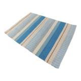 Stripe Rug Handwoven Flatweave Blue Multi