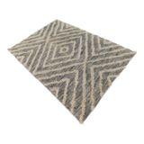 Diamond Tufted Rug Handwoven Flatweave Grey/White