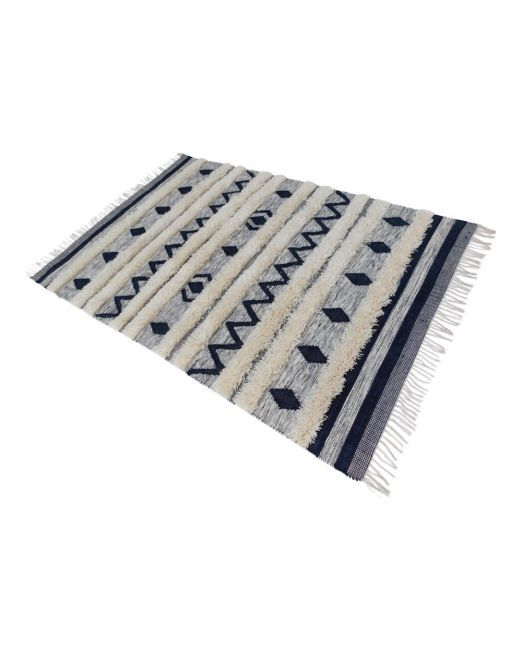 985990 RUG TRIBAL GREYWHITE 160X230 THICK TUFTED HANDWOVEN FLATWEA (2)