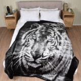 Queen Faux Mink Blanket Tiger Blue Eye
