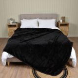 Casa Rosso Faux Mink Blanket Black