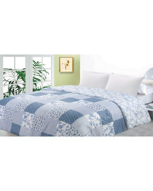 664779 Blue Patchwork Comforter