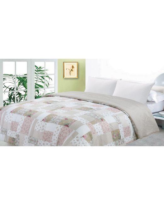 664782 Pink Beige Patchwork Comforter